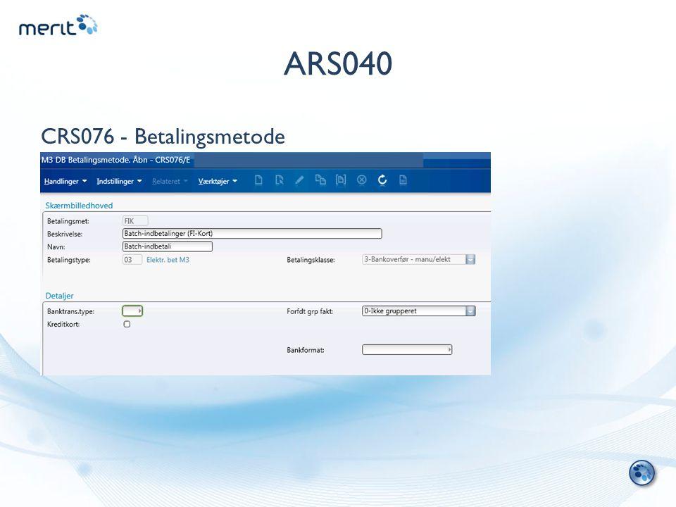 ARS040 CRS076 - Betalingsmetode