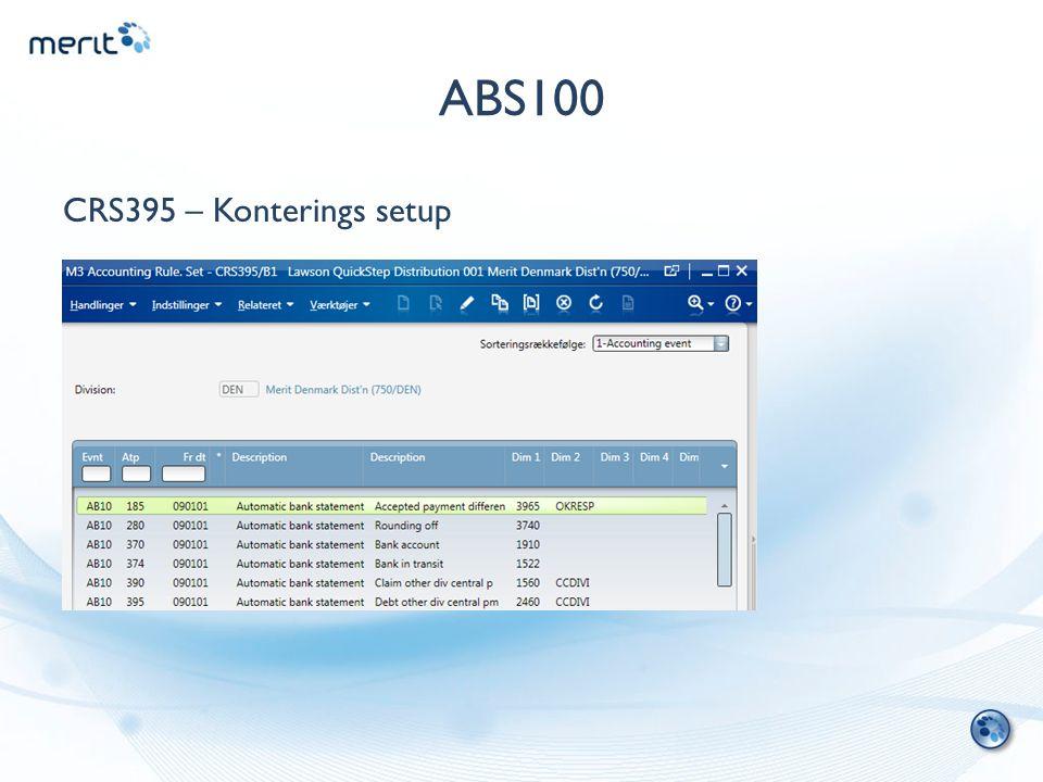 ABS100 CRS395 – Konterings setup