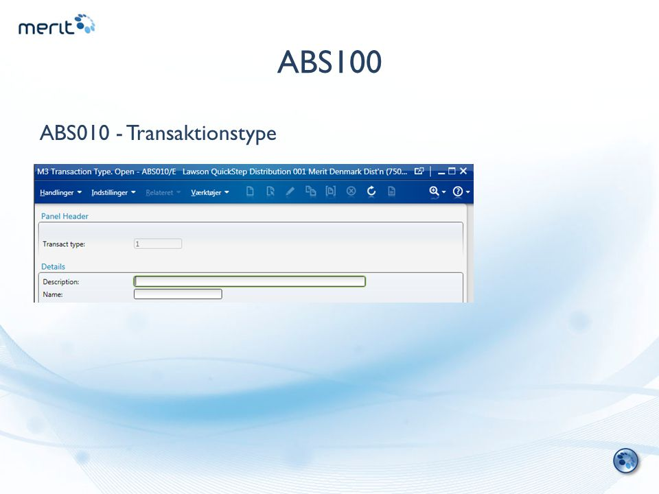 ABS100 ABS010 - Transaktionstype