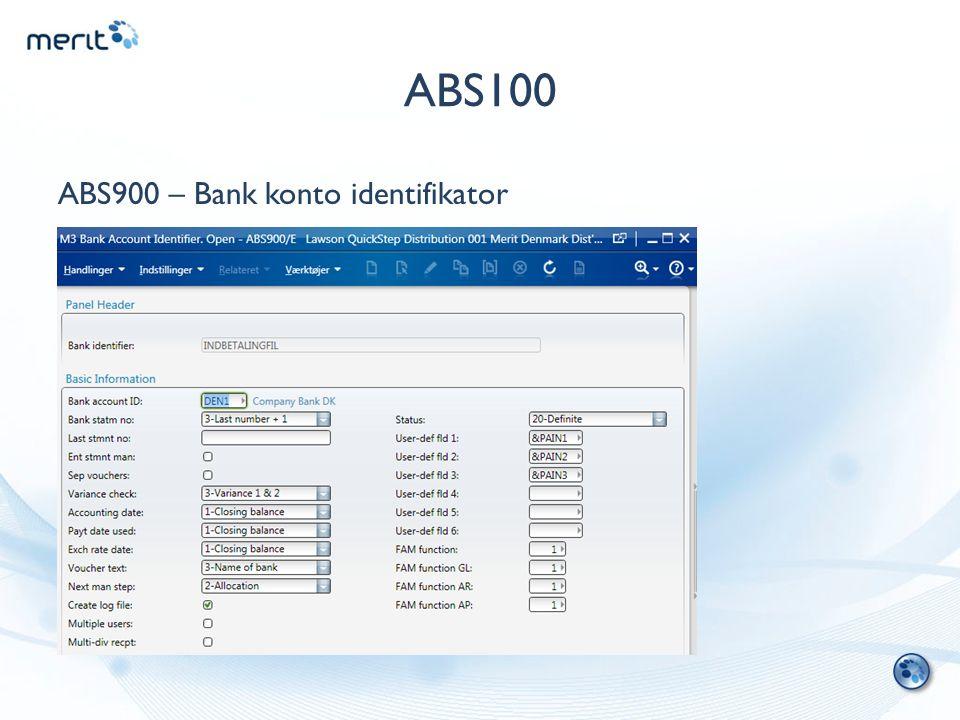 ABS100 ABS900 – Bank konto identifikator