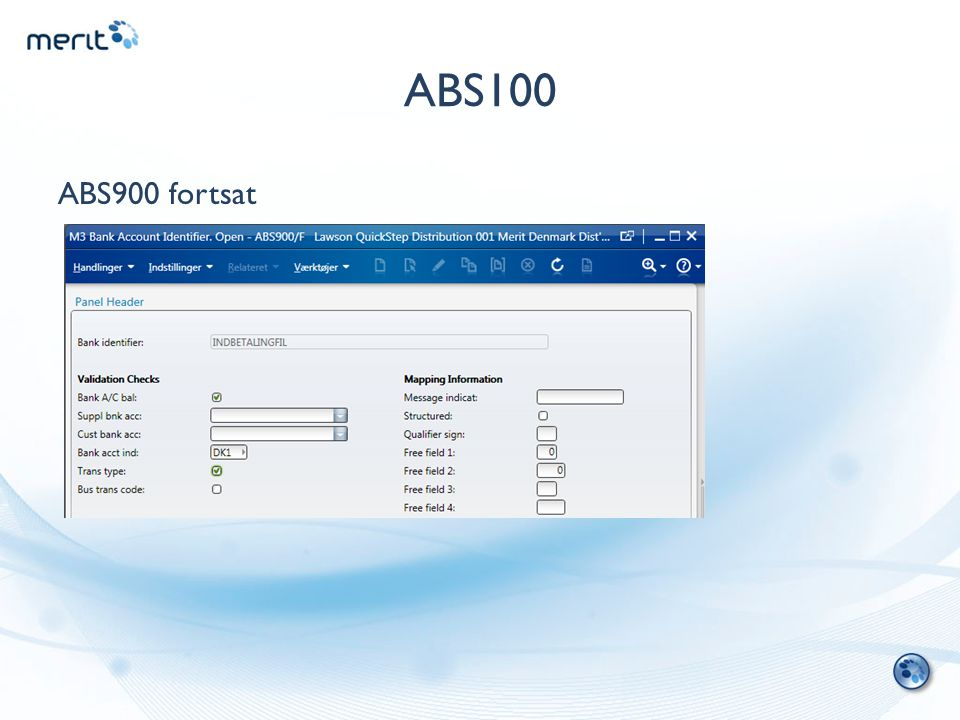 ABS100 ABS900 fortsat