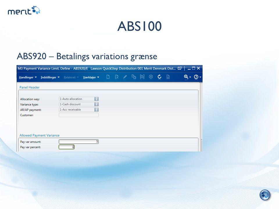 ABS100 ABS920 – Betalings variations grænse