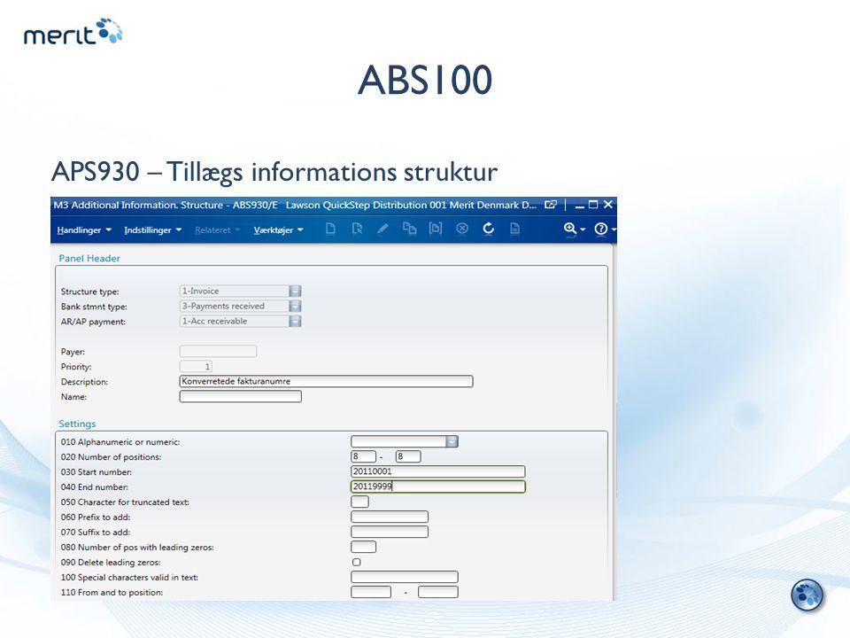 ABS100 APS930 – Tillægs informations struktur