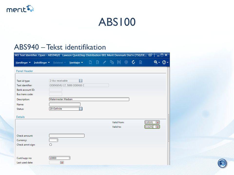 ABS100 ABS940 – Tekst identifikation