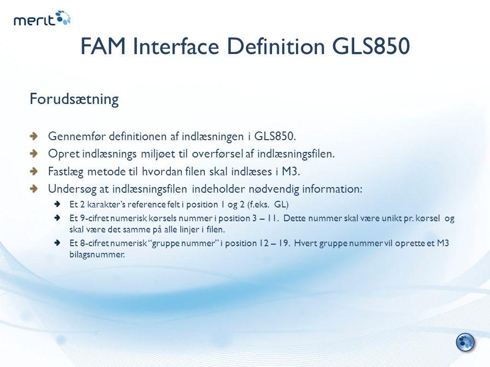 FAM Interface Definition GLS850