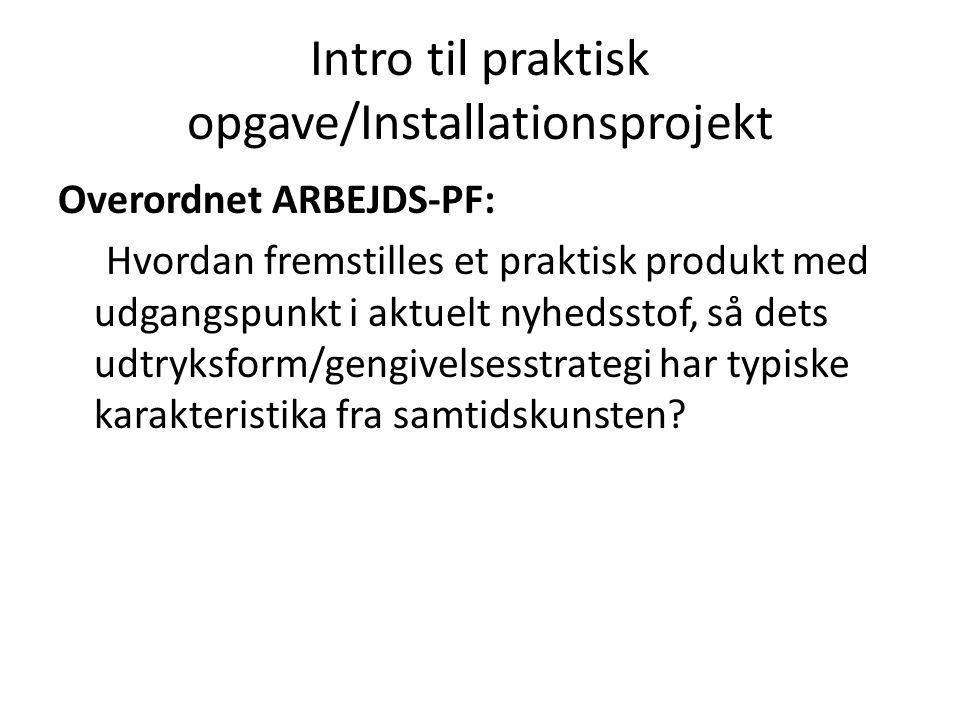 Intro til praktisk opgave/Installationsprojekt