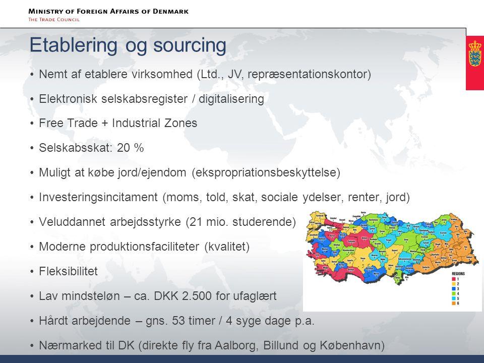 Etablering og sourcing