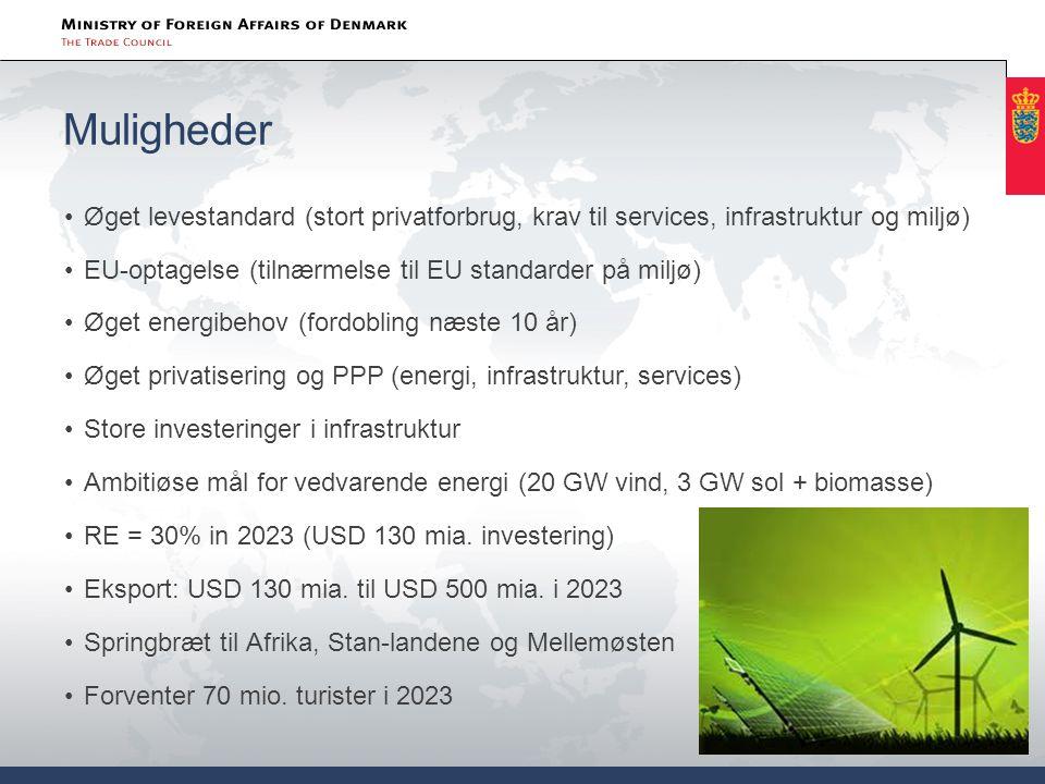 Muligheder Øget levestandard (stort privatforbrug, krav til services, infrastruktur og miljø) EU-optagelse (tilnærmelse til EU standarder på miljø)