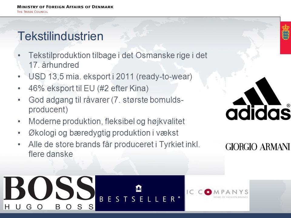 Tekstilindustrien Tekstilproduktion tilbage i det Osmanske rige i det 17. århundred. USD 13,5 mia. eksport i 2011 (ready-to-wear)