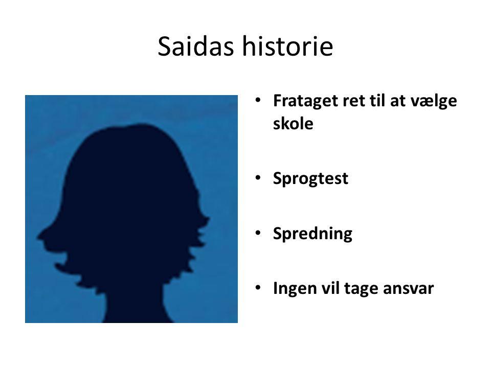 Saidas historie Frataget ret til at vælge skole Sprogtest Spredning