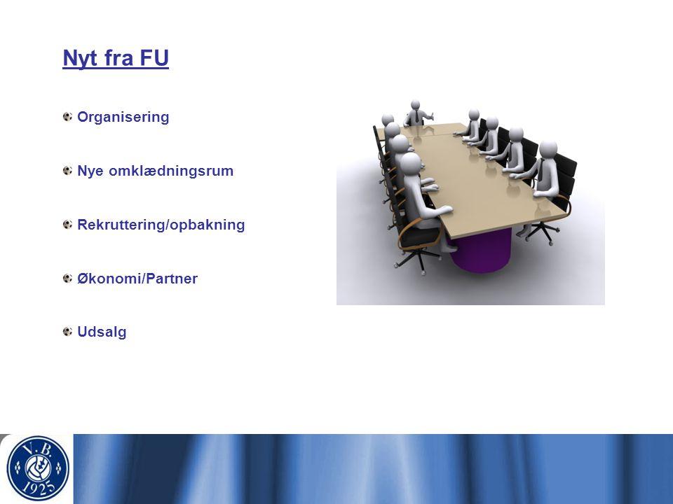 Nyt fra FU Organisering Nye omklædningsrum Rekruttering/opbakning