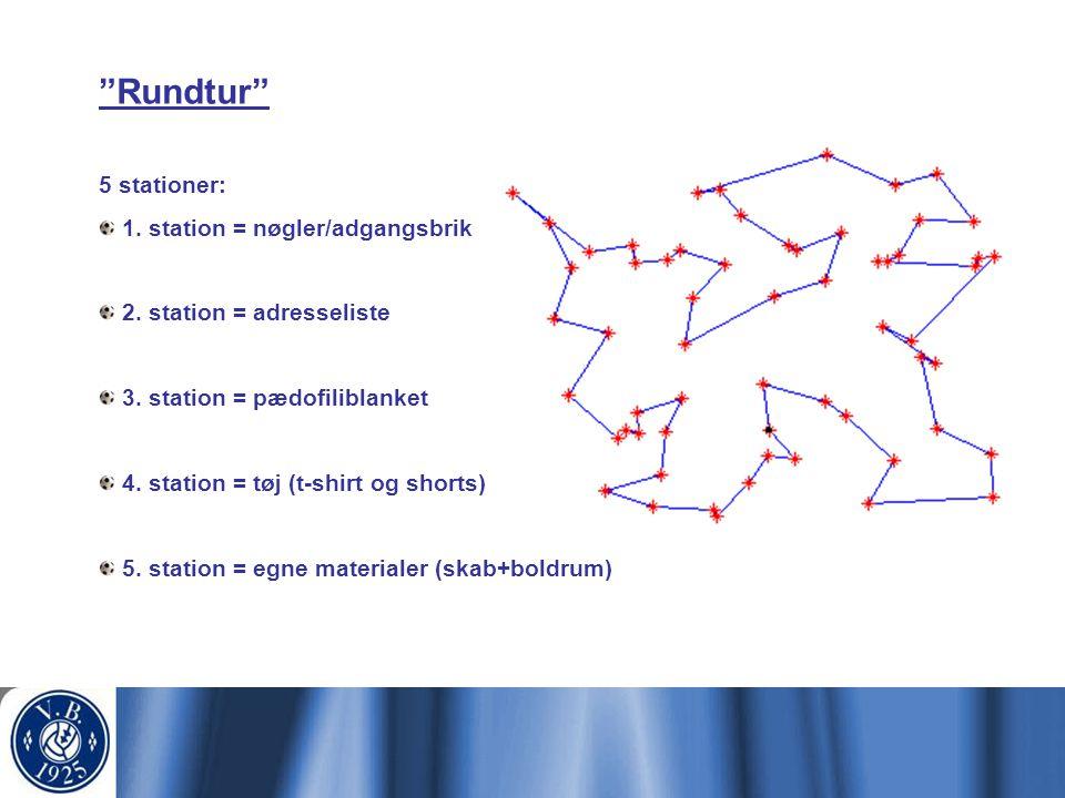 Rundtur 5 stationer: 1. station = nøgler/adgangsbrik