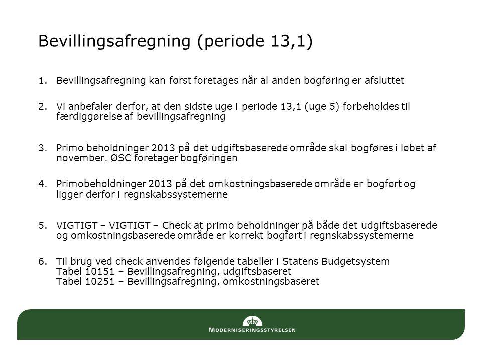 Bevillingsafregning (periode 13,1)