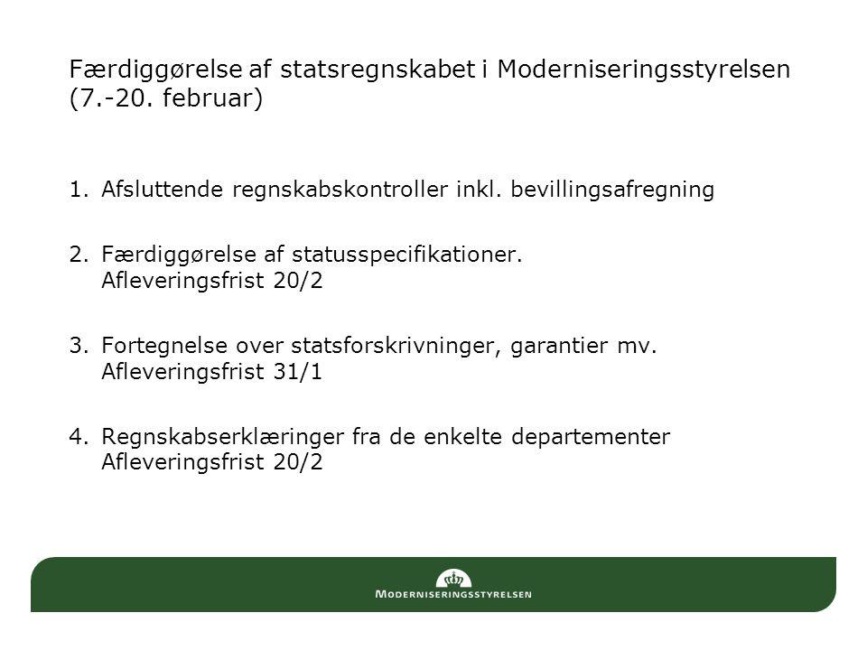 Færdiggørelse af statsregnskabet i Moderniseringsstyrelsen (7. -20