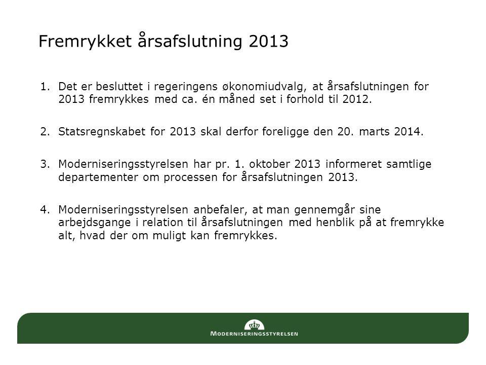 Fremrykket årsafslutning 2013