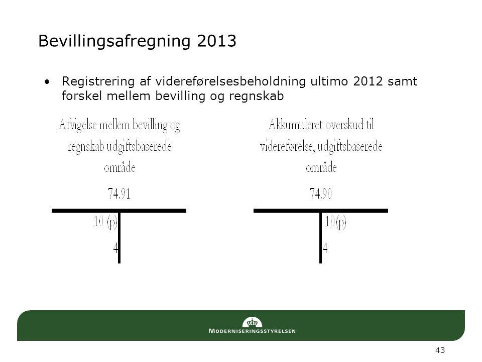 Bevillingsafregning 2013 Registrering af videreførelsesbeholdning ultimo 2012 samt forskel mellem bevilling og regnskab.