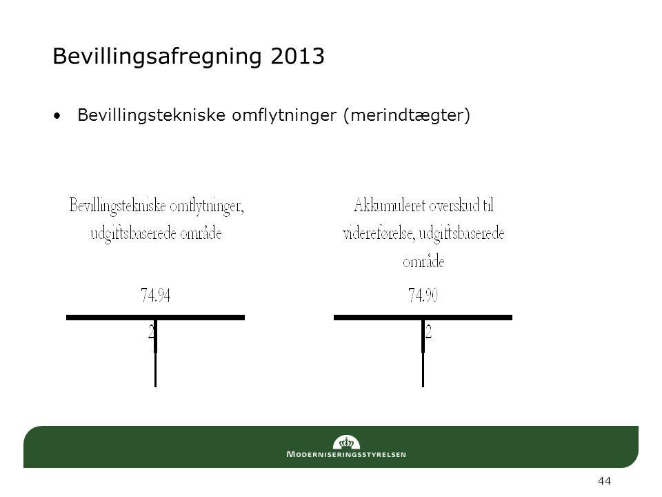 Bevillingsafregning 2013 Bevillingstekniske omflytninger (merindtægter) 44