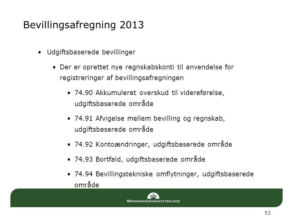 Bevillingsafregning 2013 Udgiftsbaserede bevillinger