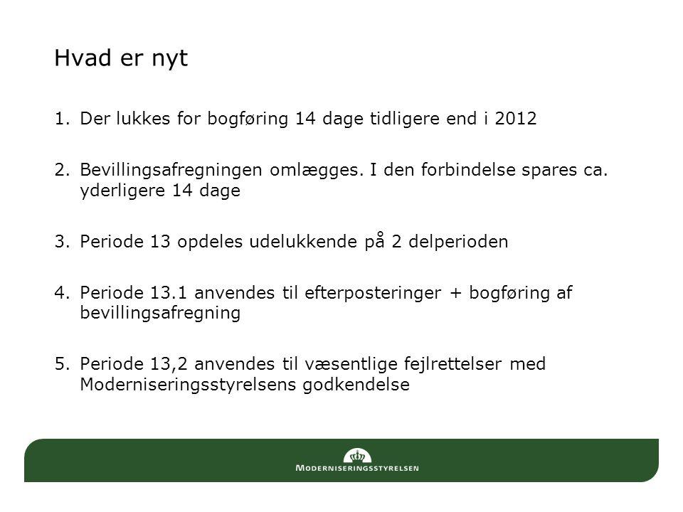 Hvad er nyt Der lukkes for bogføring 14 dage tidligere end i 2012