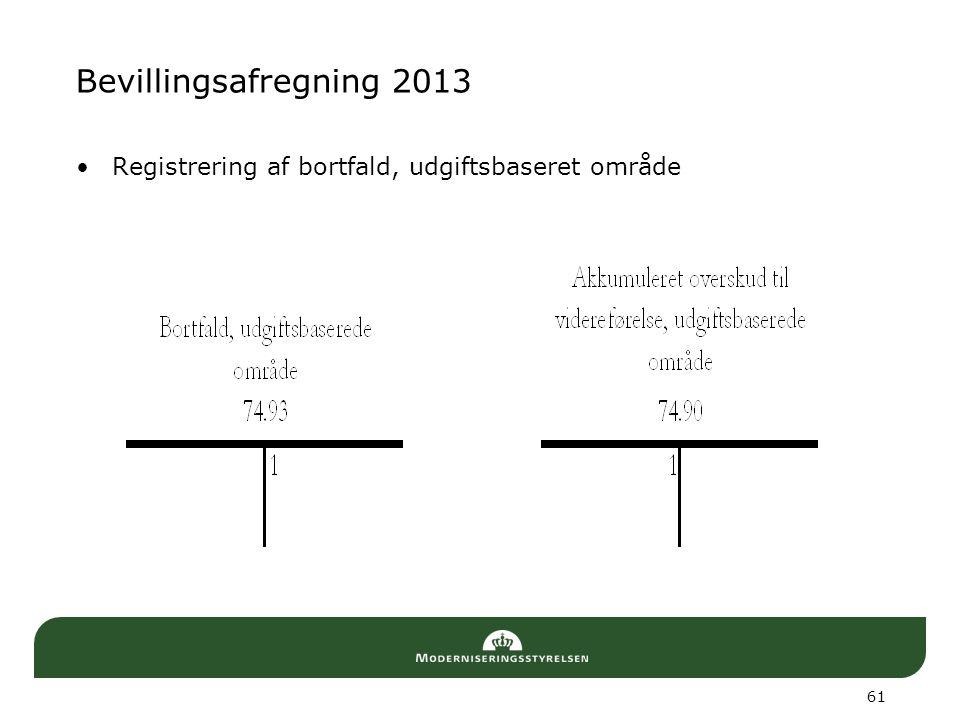 Bevillingsafregning 2013 Registrering af bortfald, udgiftsbaseret område 61
