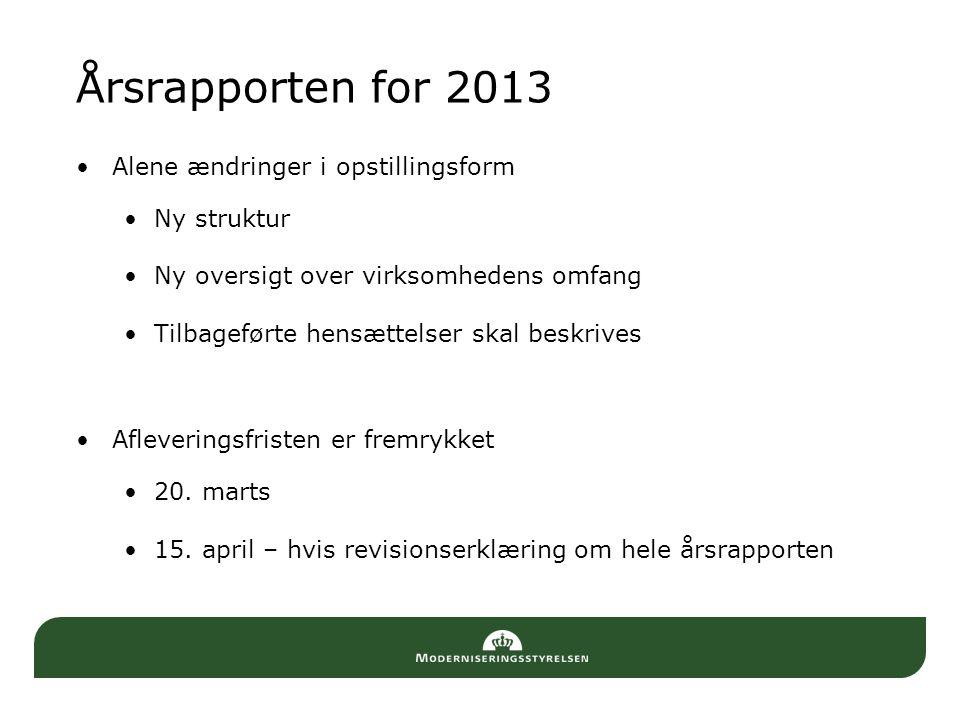 Årsrapporten for 2013 Alene ændringer i opstillingsform Ny struktur
