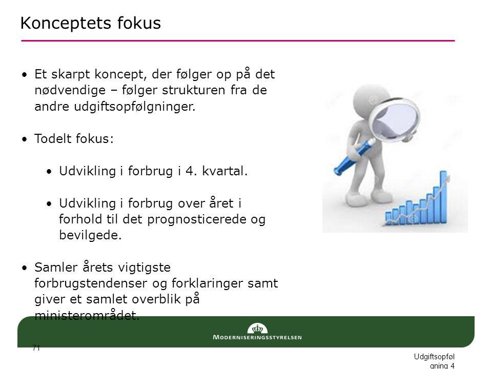 Konceptets fokus Et skarpt koncept, der følger op på det nødvendige – følger strukturen fra de andre udgiftsopfølgninger.