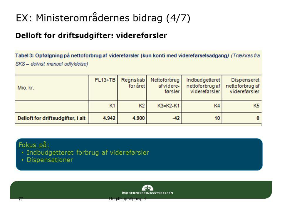 EX: Ministerområdernes bidrag (4/7)