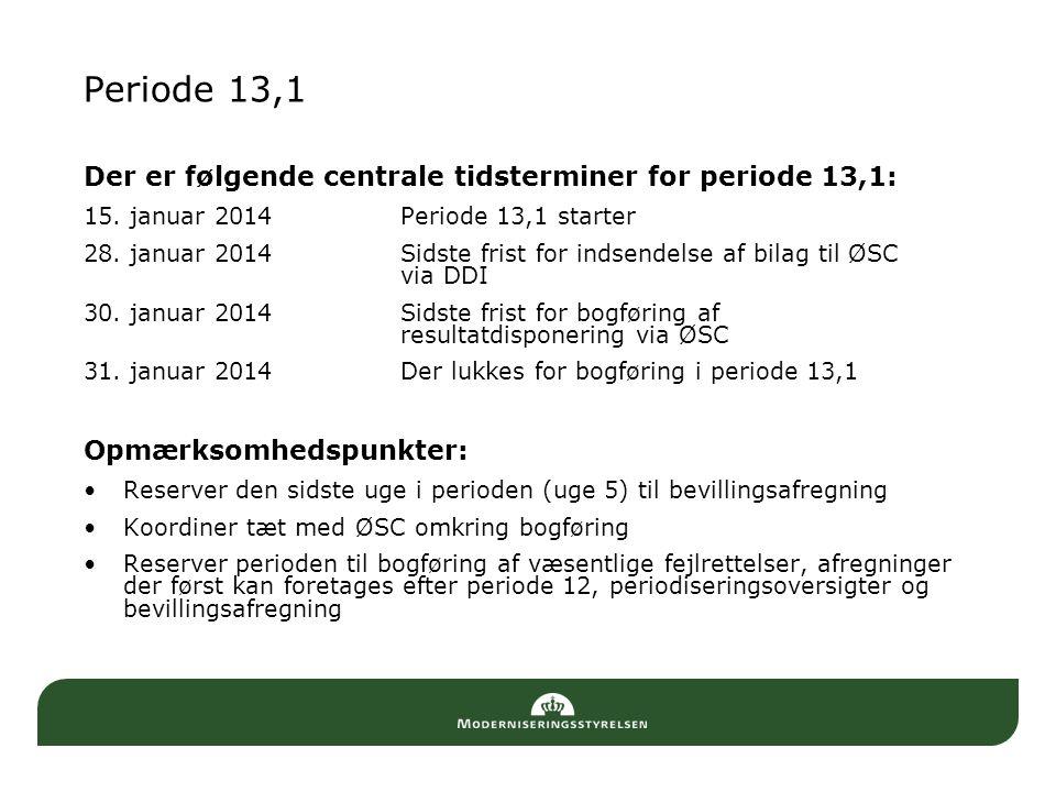 Periode 13,1 Der er følgende centrale tidsterminer for periode 13,1: