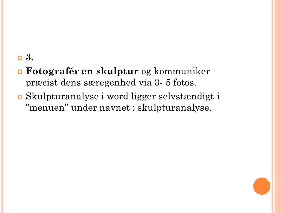 3. Fotografér en skulptur og kommuniker præcist dens særegenhed via 3- 5 fotos.