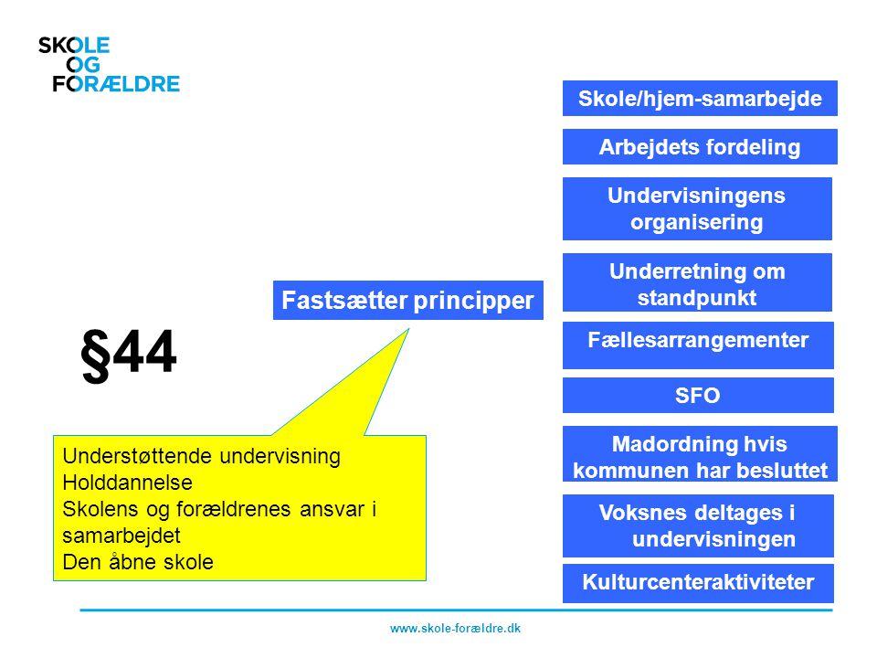 §44 Fastsætter principper Skole/hjem-samarbejde Arbejdets fordeling