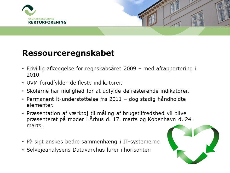Ressourceregnskabet Frivillig aflæggelse for regnskabsåret 2009 – med afrapportering i 2010. UVM forudfylder de fleste indikatorer.