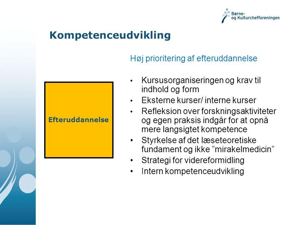 Kompetenceudvikling Høj prioritering af efteruddannelse
