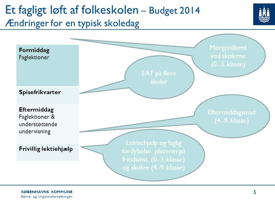 Et fagligt løft af folkeskolen – Budget 2014 Ændringer for en typisk skoledag