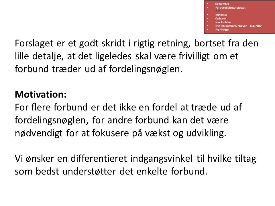 Resultater Forberedelsesprojektet. DIF. Materiel. Ophardt. Nye klubber. Nyt international stævne – CCC 2012.