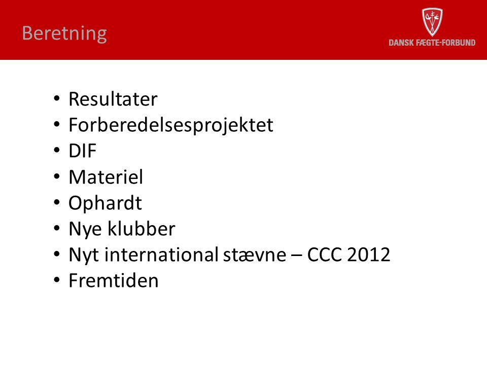 Beretning Resultater. Forberedelsesprojektet. DIF. Materiel. Ophardt. Nye klubber. Nyt international stævne – CCC 2012.