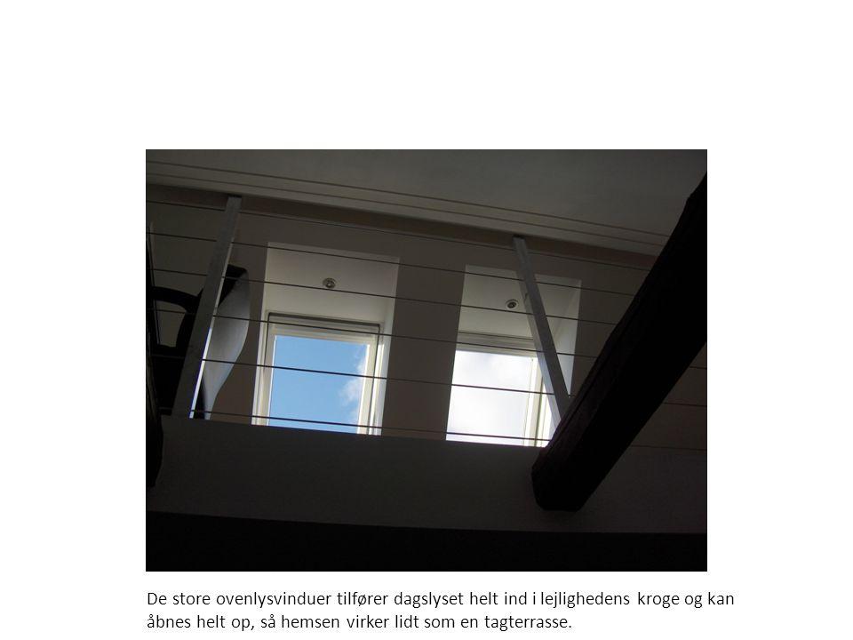 De store ovenlysvinduer tilfører dagslyset helt ind i lejlighedens kroge og kan åbnes helt op, så hemsen virker lidt som en tagterrasse.