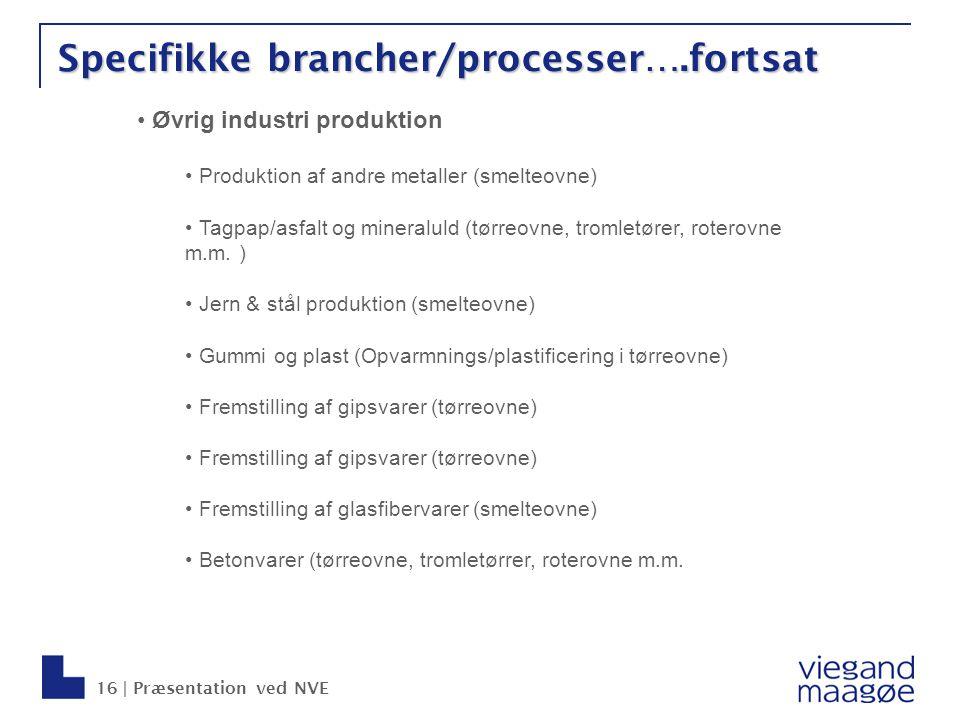 Specifikke brancher/processer….fortsat