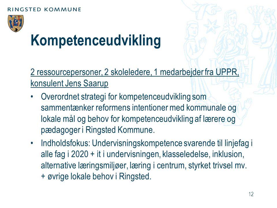 Kompetenceudvikling 2 ressourcepersoner, 2 skoleledere, 1 medarbejder fra UPPR, konsulent Jens Saarup.