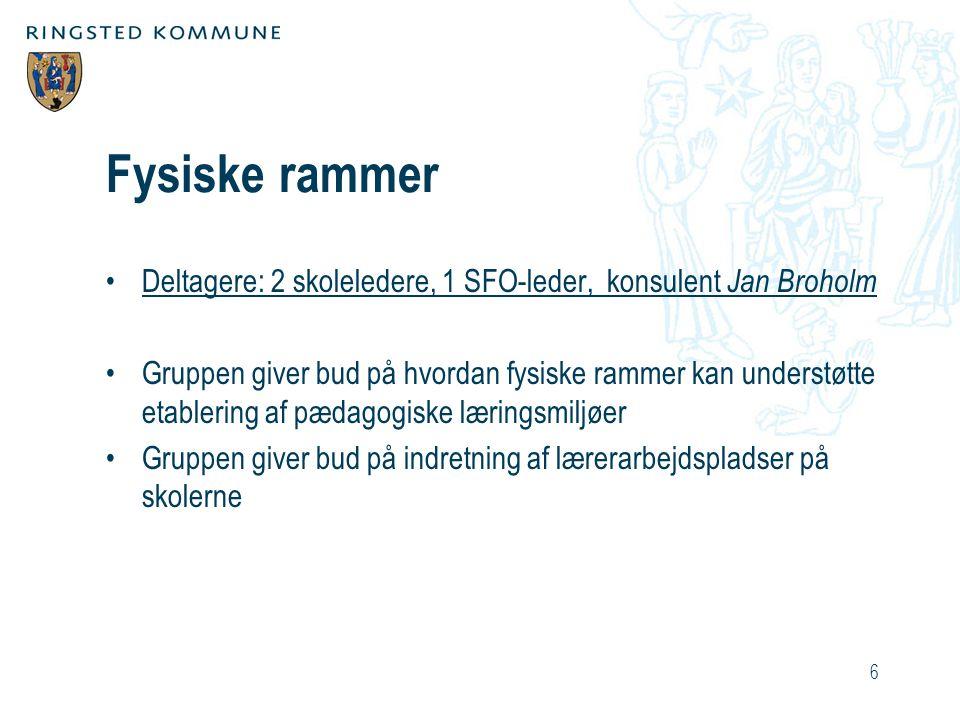 Fysiske rammer Deltagere: 2 skoleledere, 1 SFO-leder, konsulent Jan Broholm.