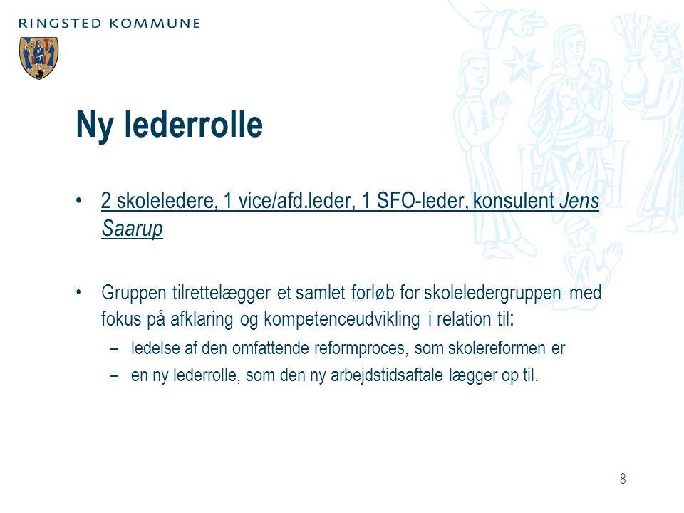 Ny lederrolle 2 skoleledere, 1 vice/afd.leder, 1 SFO-leder, konsulent Jens Saarup.