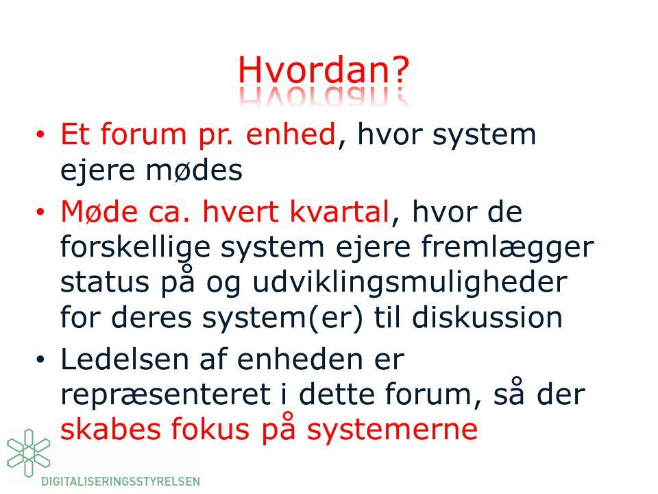 Hvordan Et forum pr. enhed, hvor system ejere mødes