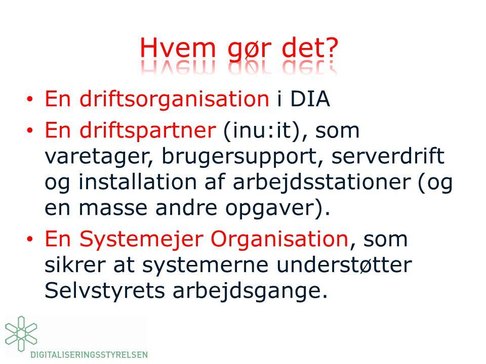 Hvem gør det En driftsorganisation i DIA
