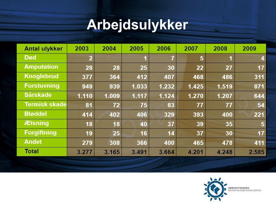 Arbejdsulykker Antal ulykker 2003 2004 2005 2006 2007 2008 2009 Død 2