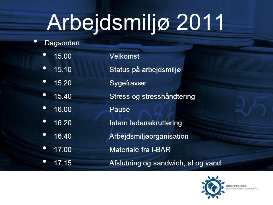 Arbejdsmiljø 2011 Dagsorden 15.00 Velkomst
