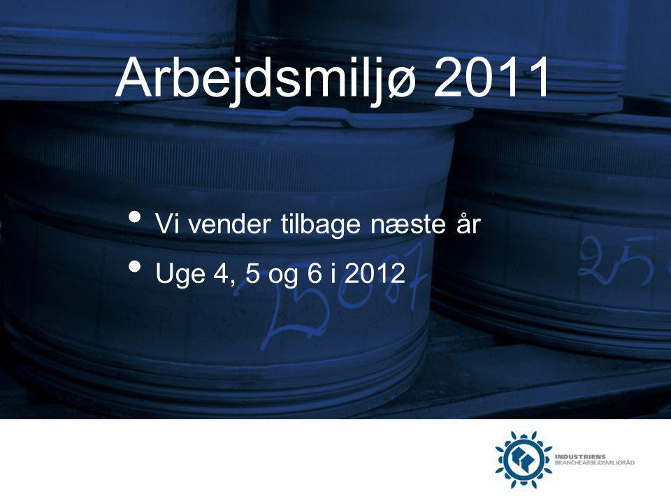 Arbejdsmiljø 2011 Vi vender tilbage næste år Uge 4, 5 og 6 i 2012