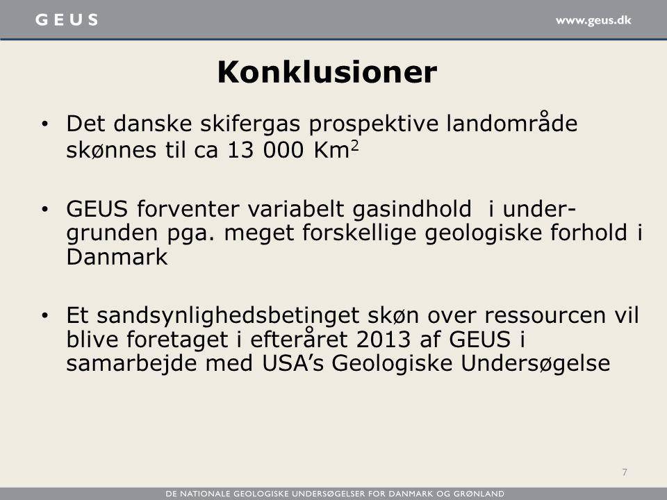 Konklusioner Det danske skifergas prospektive landområde skønnes til ca 13 000 Km2.