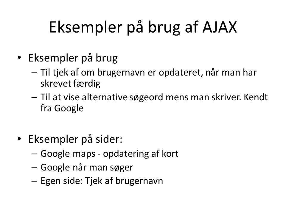 Eksempler på brug af AJAX
