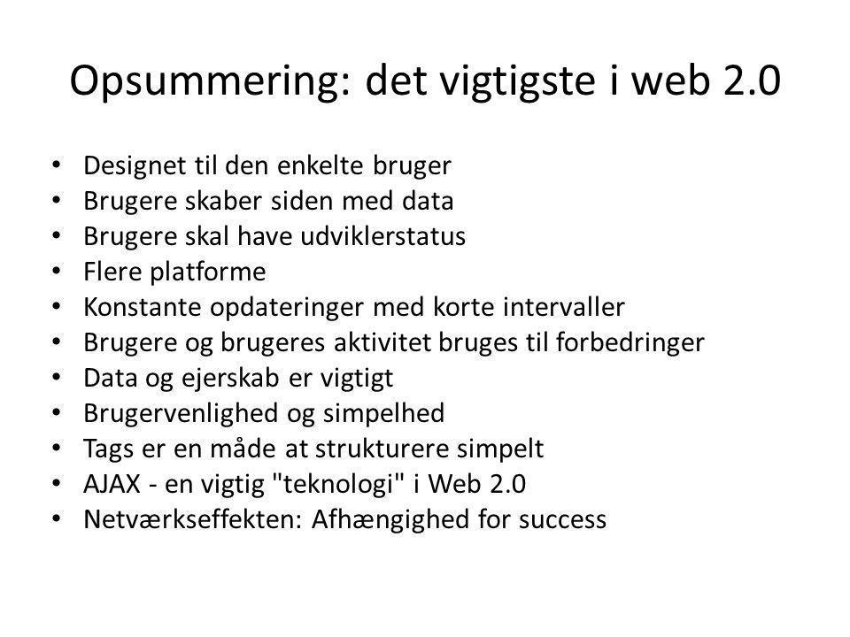 Opsummering: det vigtigste i web 2.0
