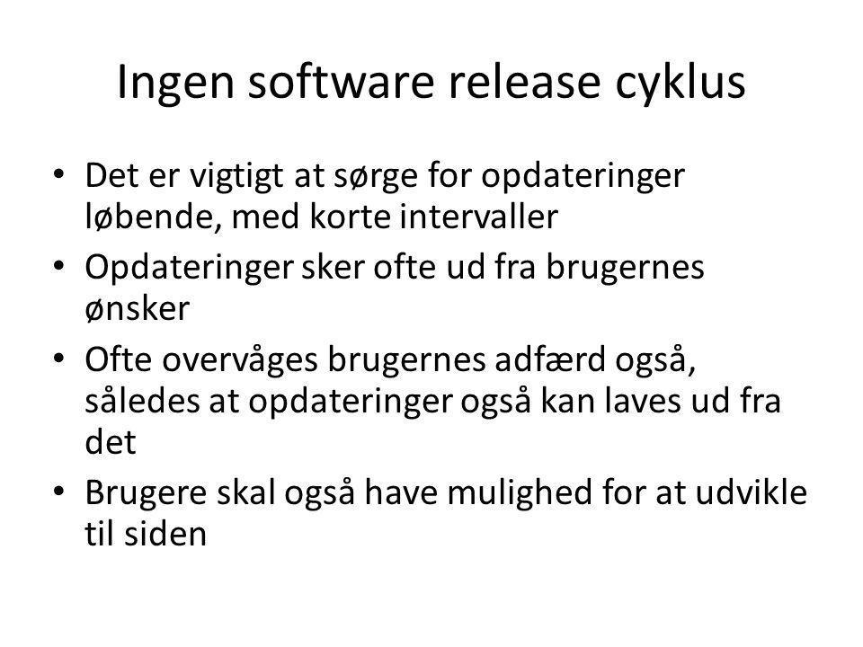 Ingen software release cyklus