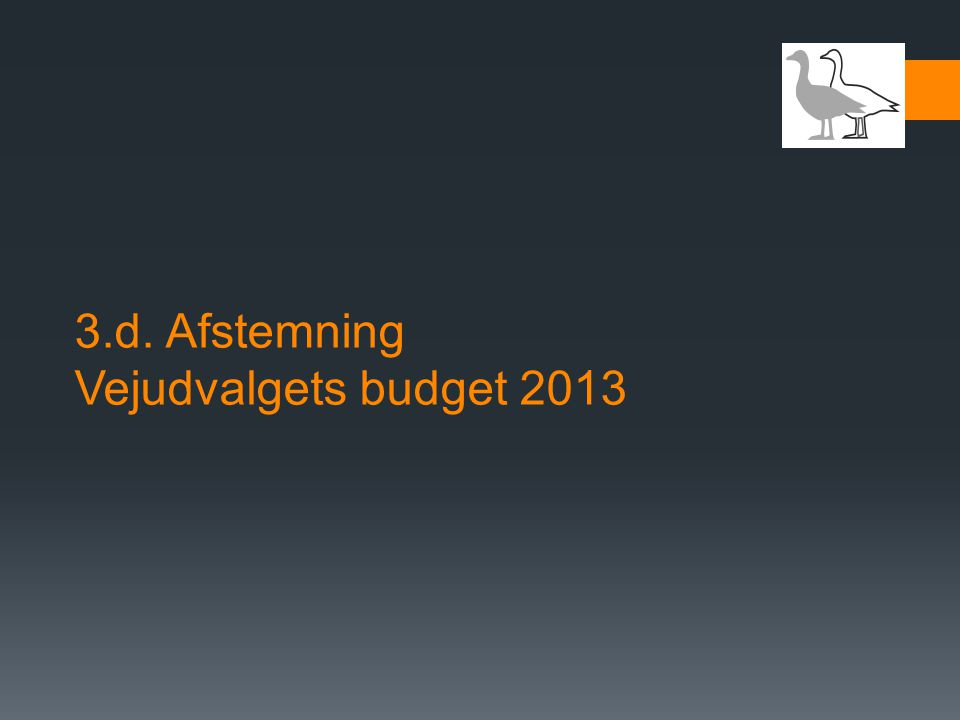 3.d. Afstemning Vejudvalgets budget 2013